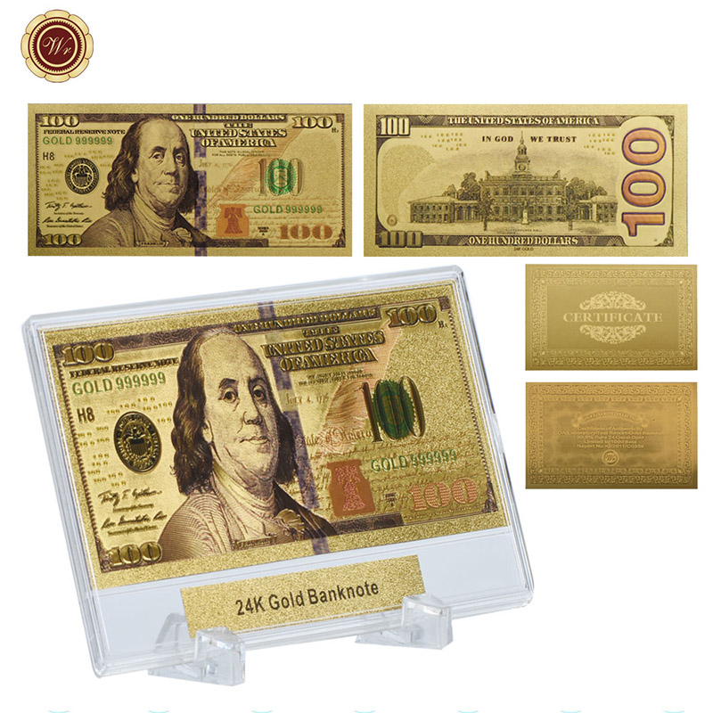 WR Business Gift 24k <font><b>Gold</b></font> Plated Banknote New <font><b>100</b></font> <font><b>Dollars</b></font> United States <font><b>Bill</b></font> Colored Banknote with Plastic Frame Decoration image