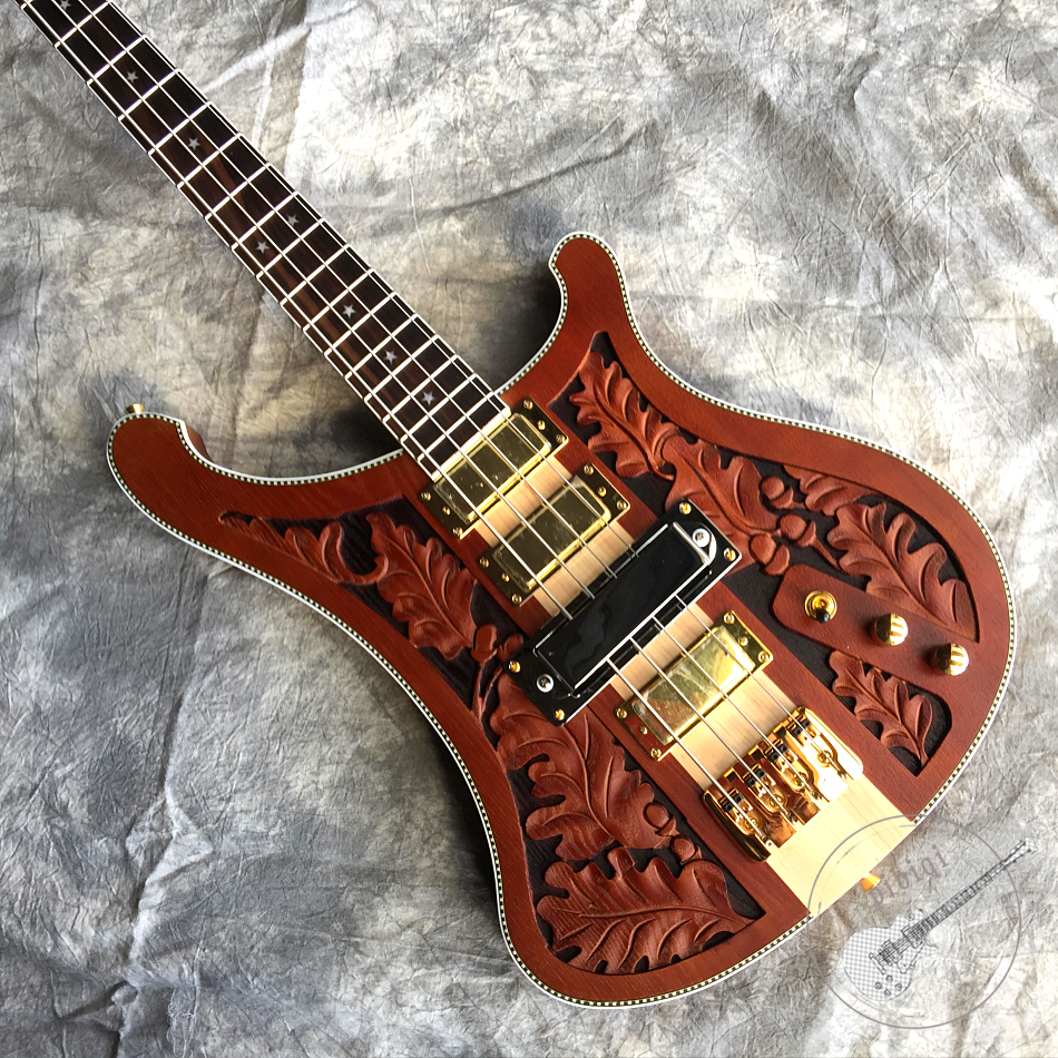 Free delivery, new electric guitar, sculpted sublight body, one neck, 4-string bass, gold hardware, customizable.