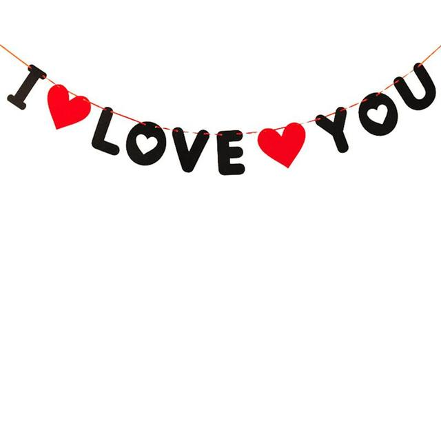I Love You Valentines Day Banner Bunting Garland Wedding Engagement