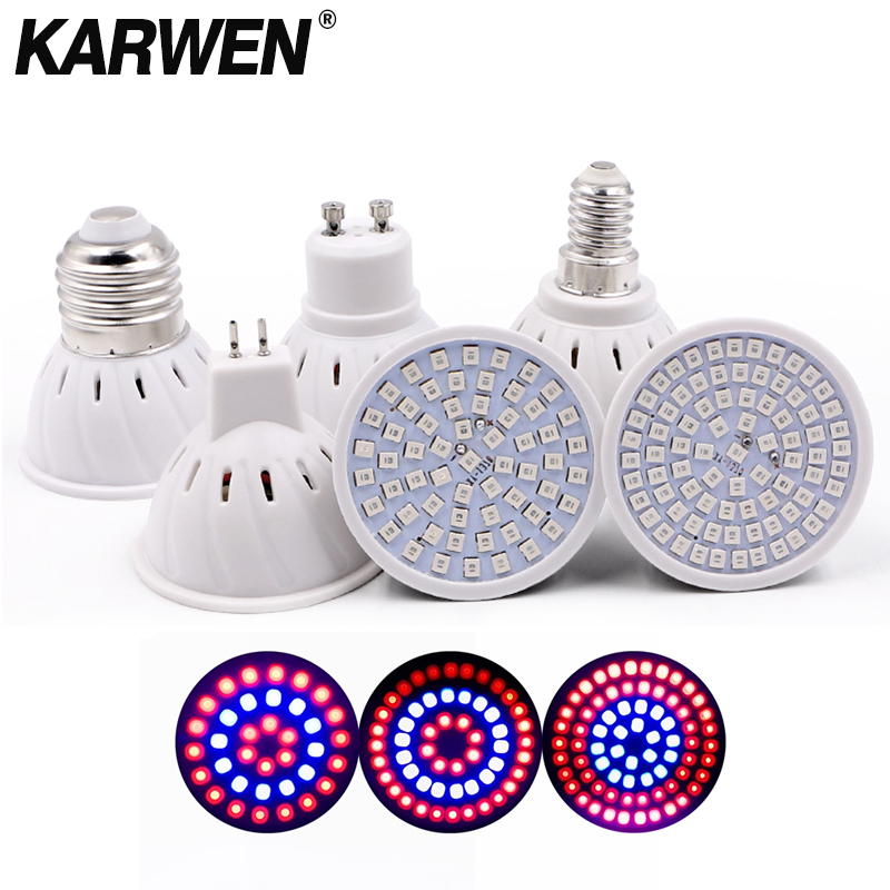 KARWEN LED Grow Light 36 54 72Leds E27/GU10/MR16 220V Phyto Lamp Full Spectrum LED Grow Light E27 Led Growing Lamps For Plant