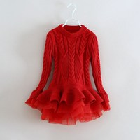 Everweekend Prenses Kızlar Tığ Örme Tutu Elbise Ruffles Şeker Renk Bej Kahverengi Gri Kırmızı Renk Sonbahar Noel Elbise