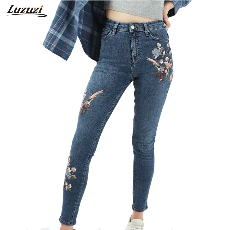 1PC Flower Embroidered Jeans Woman Denim Pencil Pants Women Jeans With Embroidery Skinny Jeans Femme Calca Jeans Feminina Z535