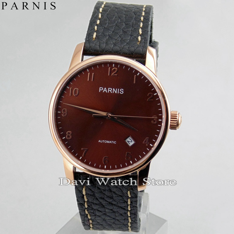 Parnis 38mm Coffee Dial rose Gold Case Miyota Automatic Date Movement Watch image
