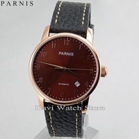 Parnis 38mm Coffee Dial rose Gold Case Miyota Automatic Date Movement Watch|watch watch|watches watch watch|watch automatic -