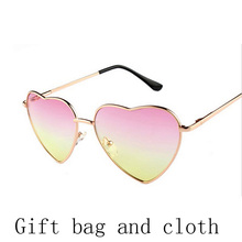 Heart shaped Sunglasses WOMEN red ladies metal Reflective LENES sun GLASSES