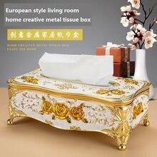 European Style Living Room Home Creative Tissue Box High-grade Metal Wedding Restaurant Paper KTV Decoration