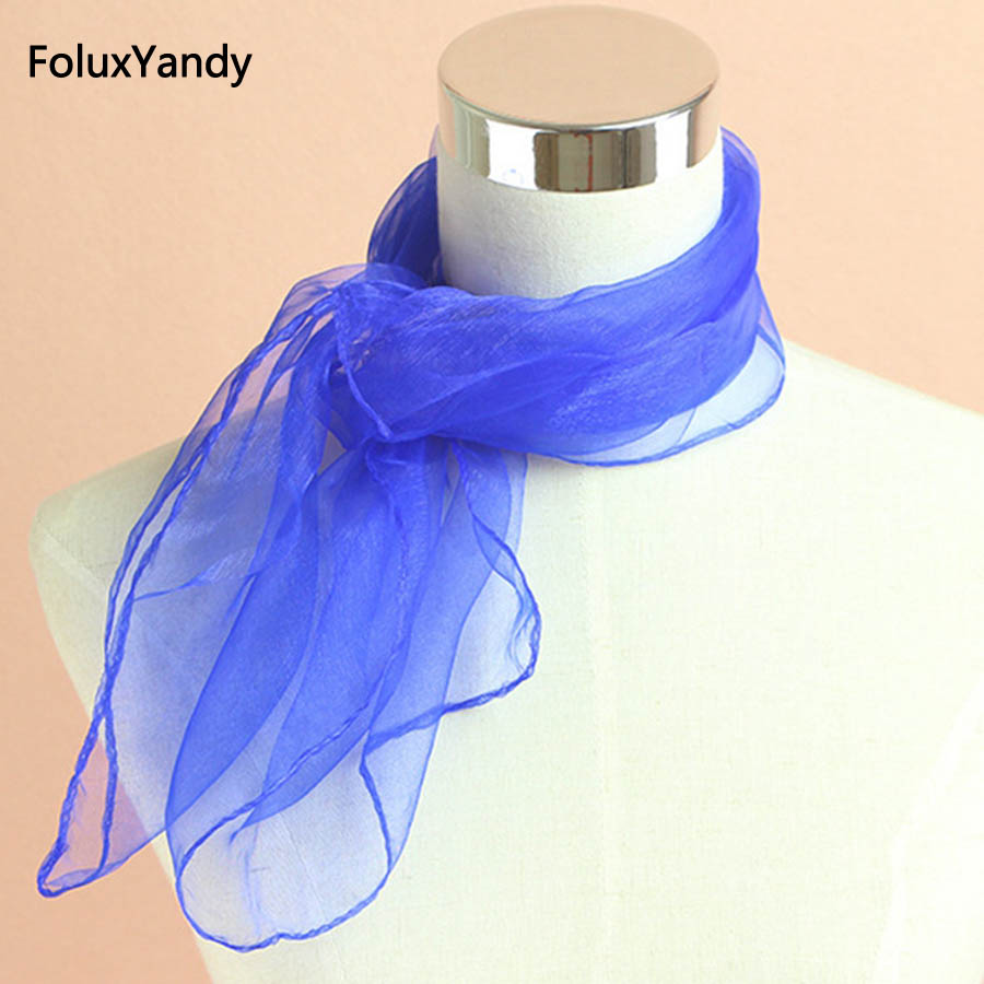 Transparent Summer Scarf Women Head Wear Fashion Solid Shinny Scarves Thin Chiffon Scarf PYWJ09CN