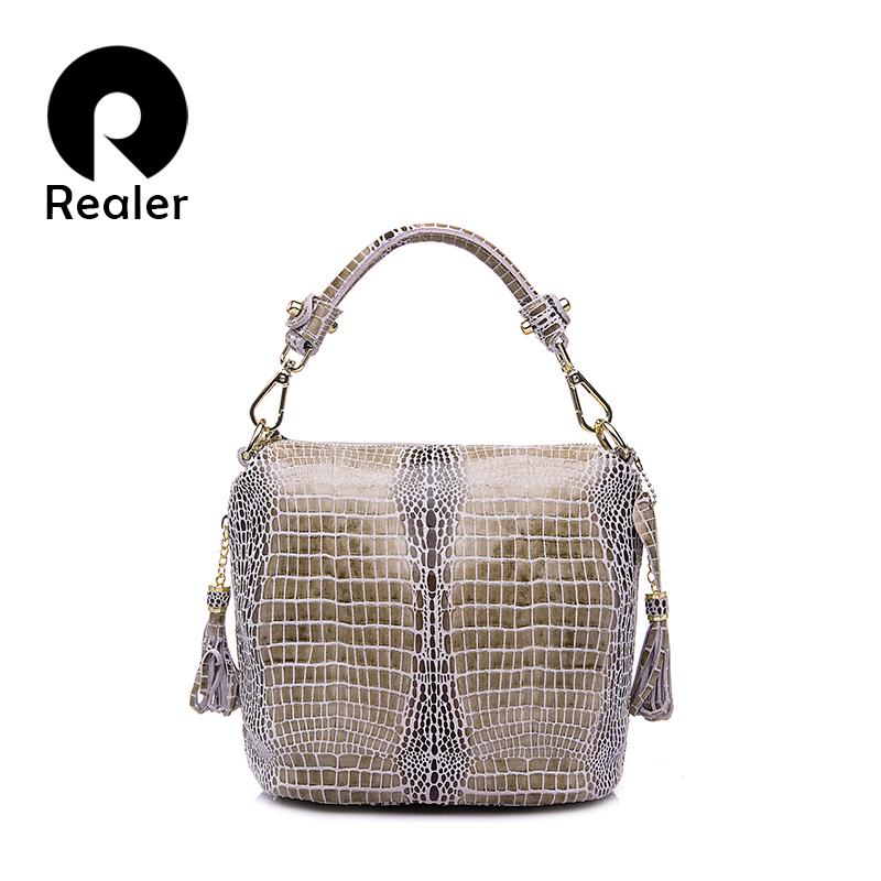 Prix pour REALER marque véritable sac à main en cuir femmes petit sac fourre-tout sacs à bandoulière dames classique motif en serpentin en cuir seau sac