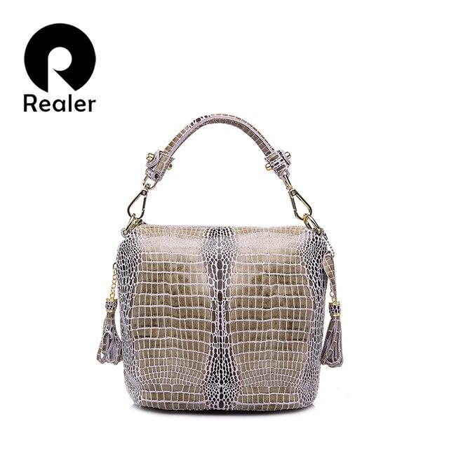 REALER бренд сумка женская из натуральной кожи с крокодиловым принтом, маленькая сумка через плечо с кисточками и рельефным рисунком, дамская сумка ведро с короткими ручками