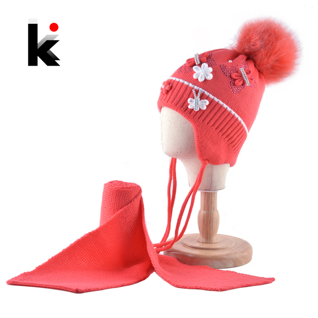ebc98406597 Warm Hats And Scarf Set For Girls Winter Knitted Lovely Kids Beanies With  Imitation Fur Pompom