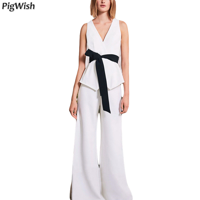 Summer Tops For Women 2018 Women Two Piece Outfits V Neck White Tops And Long Pants Suit Two Piece Set Clothes fashion 2018 mens stripe shirts and pants korea style two piece set loose v neck casual erkek giyim slim fit social club outfits