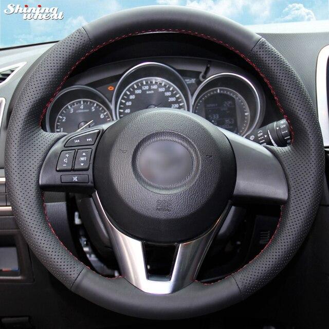 Brillante Grano Cucito a Mano Nero Artificiale Volante in Pelle Copertura Della Ruota di Copertura per Mazda CX 5 CX5 Atenza 2014 Nuova Mazda 3 CX 3 2016