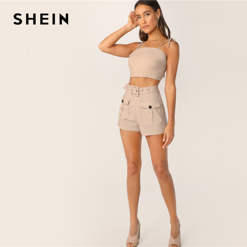 Image 3 - SHEIN Tie Strap Top And Adjustable Belted Shorts Set Sexy Khaki 