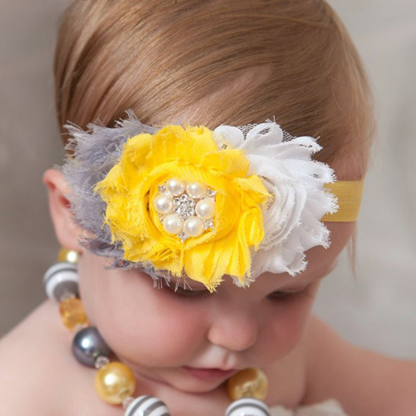 TWDVS Newborn 3 Flower Elastic Hair Accessories Kids Pearl Flower hair band Ring Flower Headband H2 vintage bohemian ethnic colored tube seed beads flower rhinestone handmade elastic headband hair band hair accessories