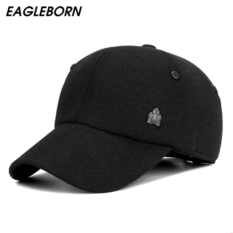 2018 Warm Winter Thickened Baseball Cap With Ears Men'S Cotton Hat Snapback Winter Hats For Men Women Hat Wholesale 55-58cm unisex genuine leather cowskin baseball cap for men fall winter cowhide hat for women keep warm cow leather hat with ears black