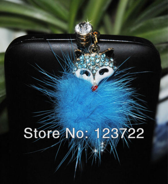 freeshipping   new style sweet fox with diamond & fluff 3.5mm Universal Phone Strap Anti Dust Earphone Plug Headset Cap