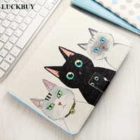 LUCKBUY Case For Apple IPad 234 Cases Covers Silk Pattern Cats Animal Stand Wallet Flip PU