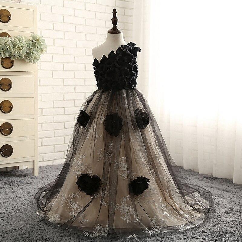 One shoulder Princess Girl Dress Ball Gown Kids Wedding Party Dresses Long Floral Girls Dresses Black Children Evening Gown D76