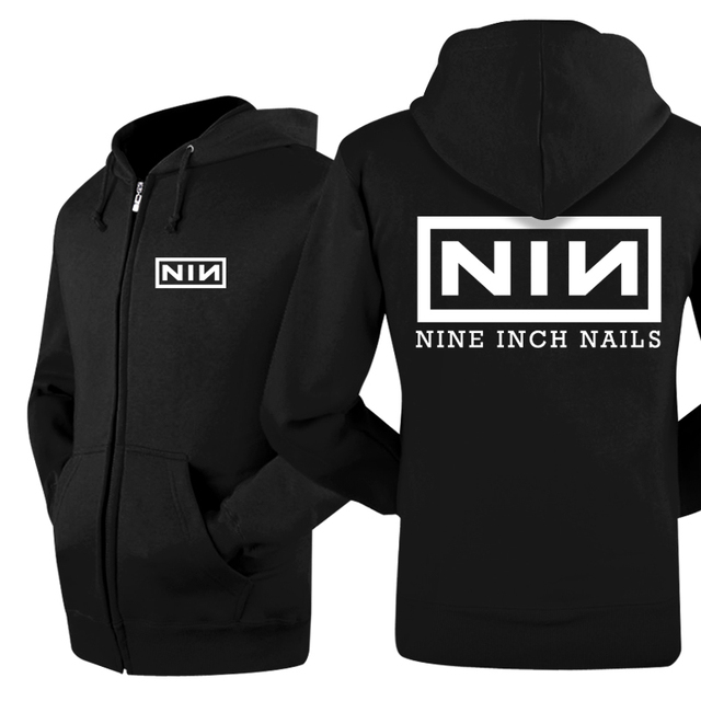 2016 New Fashion Warm Winter Casual Zip Hip Hop Printed Nine Inch Nails Rock Band Hoodies Sweatshirt Cool Mens Coats And Jackets
