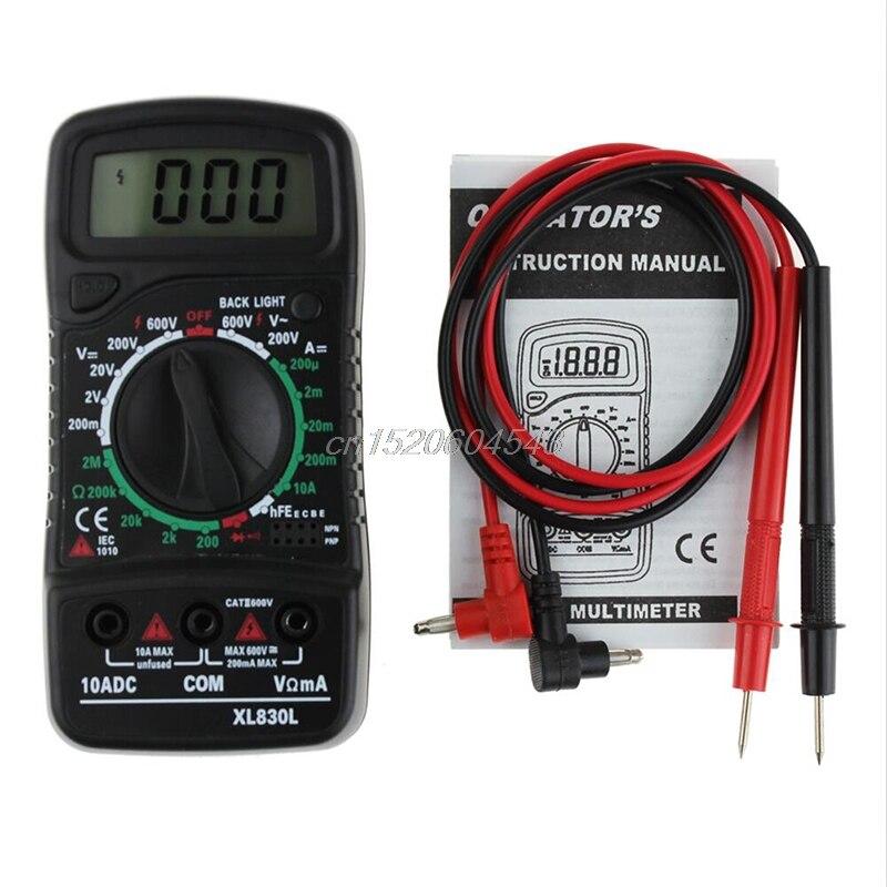 AC/DC OHM/Volt Tester Corrente Digitale A CRISTALLI LIQUIDI del Tester XL-830L Voltmetro Amperometro Strumenti R08 nave di Goccia