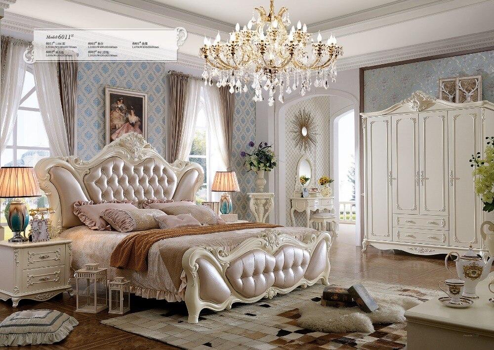 2019 Promoción Real King Antique Sin muebles de dormitorio de cuero genuino Muebles Para Casa Cama plegable Cama suave tallada francesa