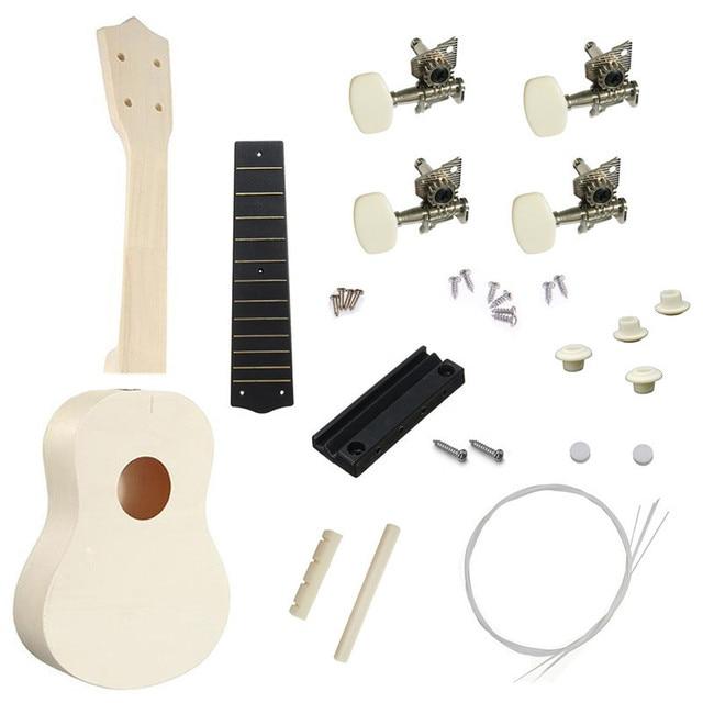 21 Inches DIY Ukulele Small Guitar Kit Set DIY Ukulele Musical Instruments Packing With Ukulele Accessories DIY Musical Set