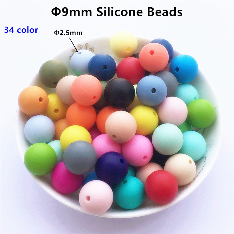 Chenkai 50pcs BPA Free Round 9mm Silicone Pacifier Teether Beads DIY Baby Dummy Shower Dummy Clips Jewelry Toy Accessories