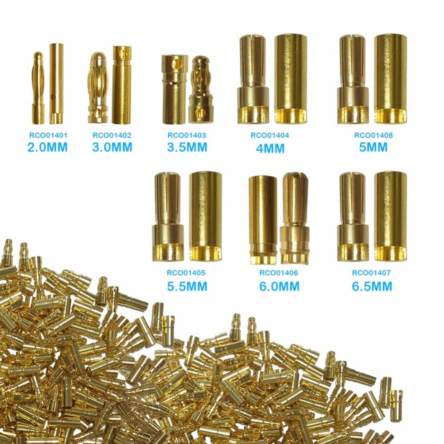 20 pcs /2mm/3mm/3.5mm/4mm/5.5mm/6mm/6.5mm/5mm Golden Banana Connector Gold Plated Plug Connector For ESC Battery Motor (10 Pair)