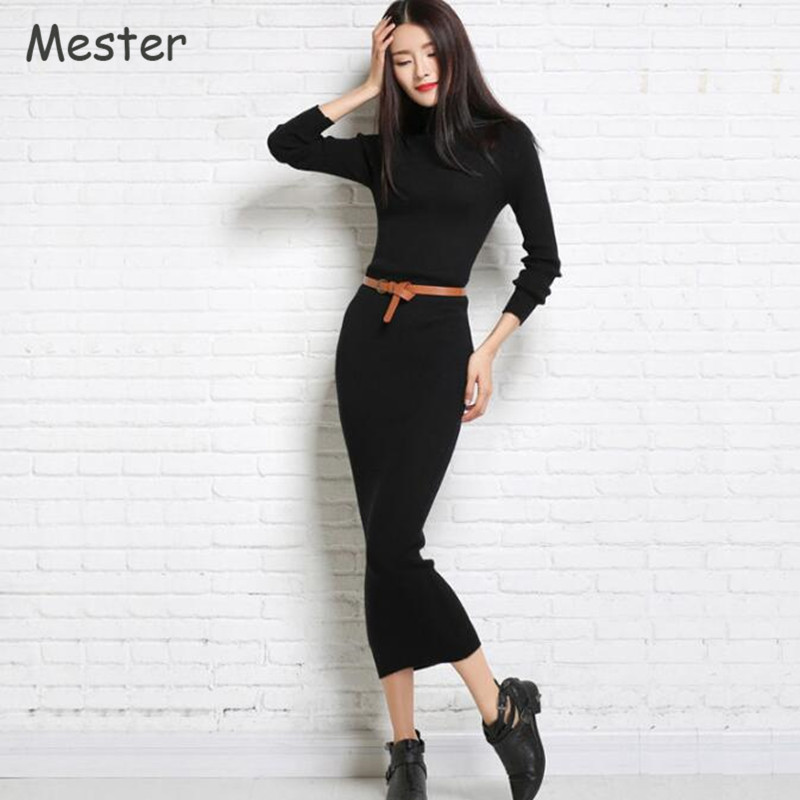 Autumn Winter New Turtleneck Cashmere Sweater Dress Women Elegant Long Sleeve Solid Wool Knitted Dress Black/White/Red/Grey