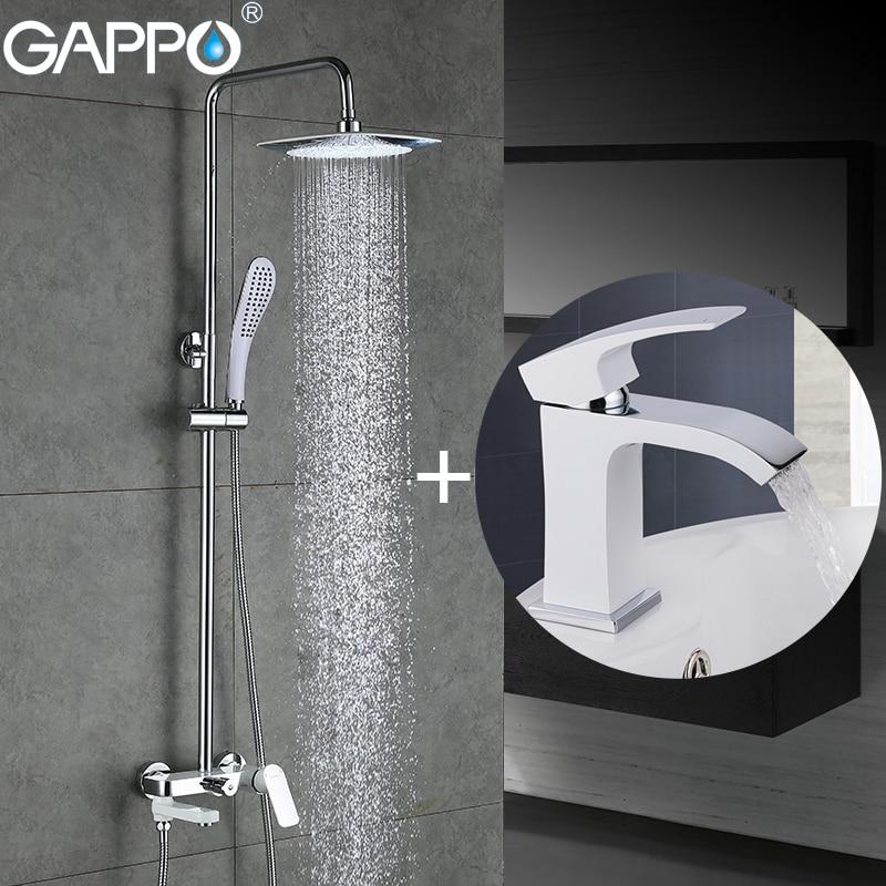 GAPPO bianco vasca da bagno Rubinetti miscelatore vasca da bagno rubinetto del bacino della cascata rubinetto del bacino del dispersore rubinetto robinet baignoire
