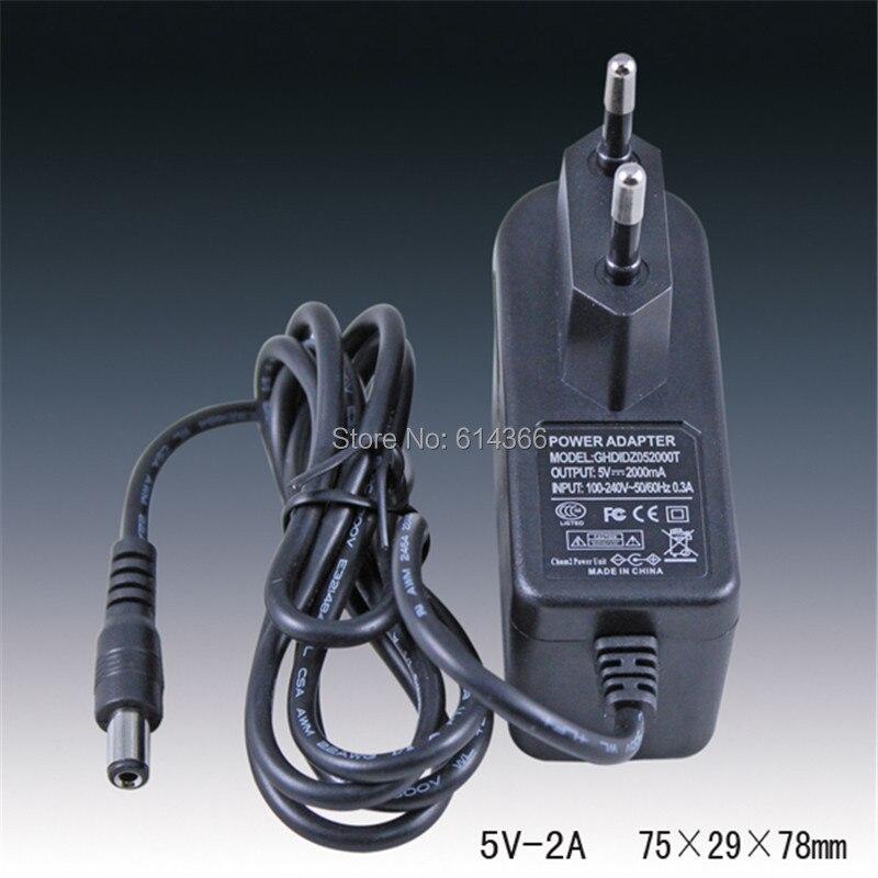 1 PCS Le meilleur 5 V2A puissance adaptateur, 5V2A led pour la puissance, 5 V2A AC100-240-V, DC5.5 * 2.1 MM UE plug
