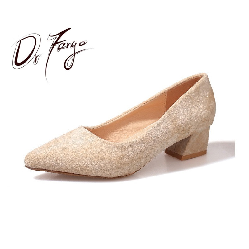 DRFARGO Shoes Woman 2019 Nude Heels Wedding Shoes Suede Pumps for Women sexy pointed toe plus size 34 Classic Bridal shoes 558DRFARGO Shoes Woman 2019 Nude Heels Wedding Shoes Suede Pumps for Women sexy pointed toe plus size 34 Classic Bridal shoes 558