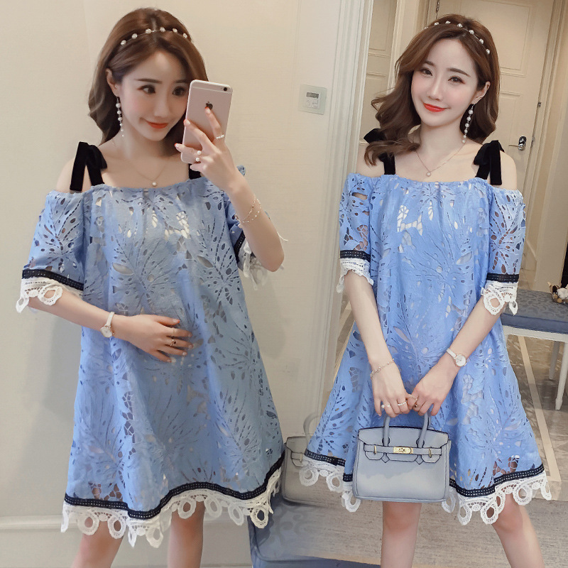 2018 summer fashion new maternity dresses out off shoulder strapless lace stitching pregnant women dress pregnancy clothes