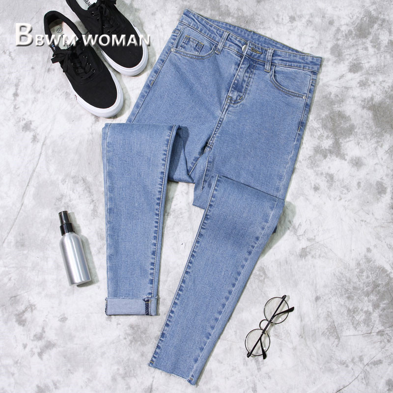 2019 Spring Slim Tight Women Jeans 3 Color Can Choose Female Trousers Pants