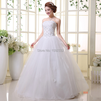 slim 2016 New stock bridal gown plus size  women wedding dress sexy bandage petals lace up scalloped ball gown white long H08