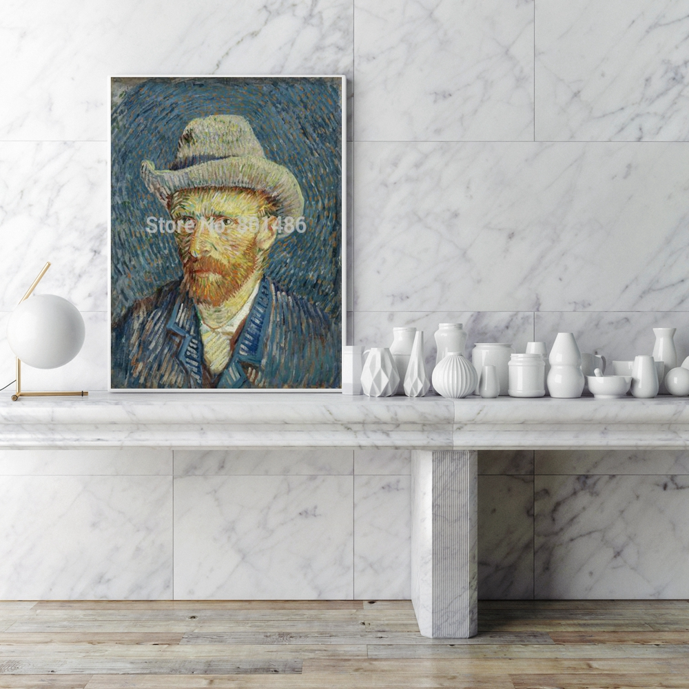 Vicent Van Gogh Self Portrait with Grey Hat Canvas Wall Art Printed Portrait Paintings for Bedroom Office Wall Decor Wholesale in Painting Calligraphy from Home Garden
