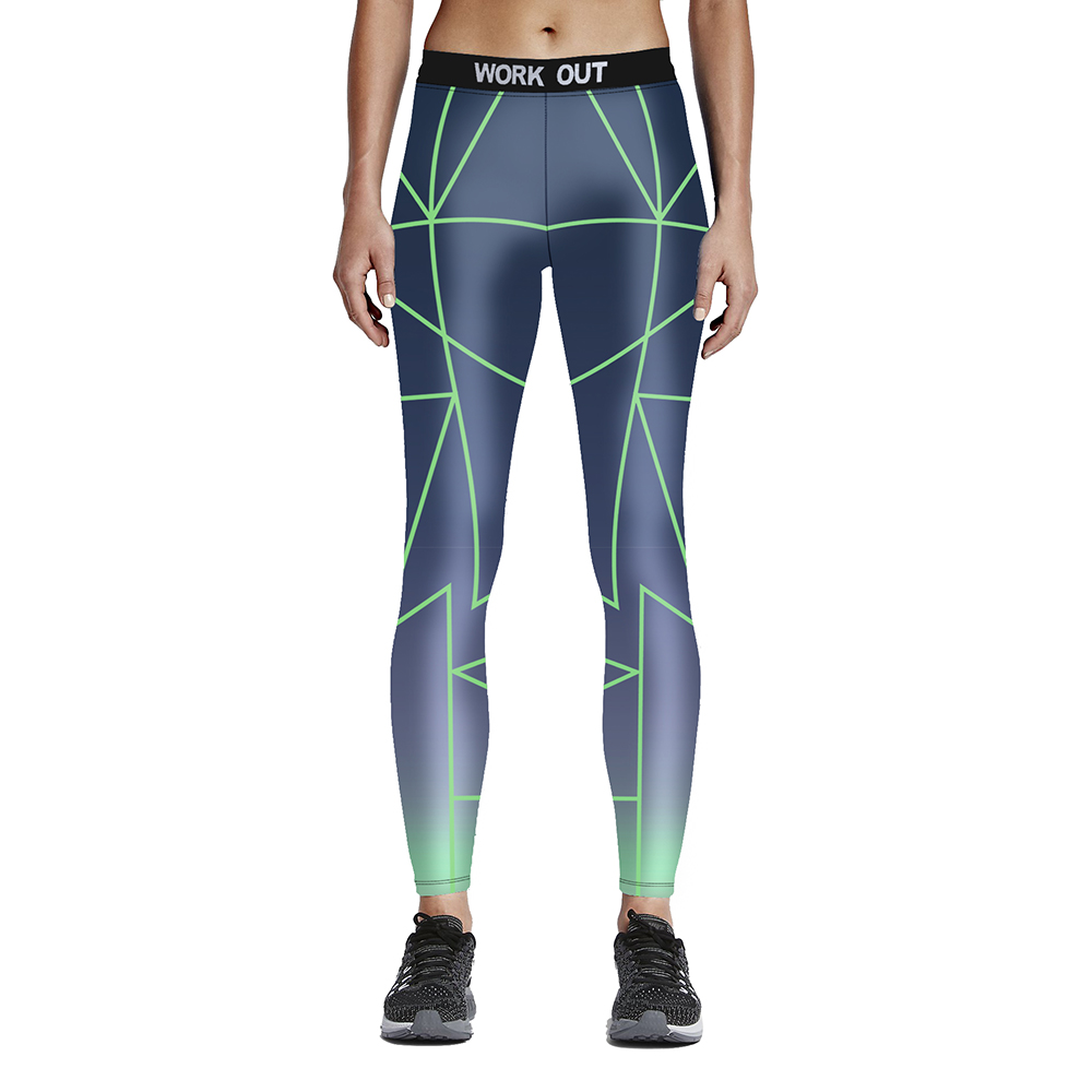 New arrival fashion digital print Woman fitness simple laser line slim trousers 9-point tie waist pants Drop/Free shipping