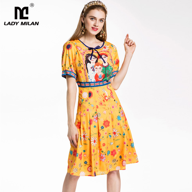 New Arrival 2018 Womens O Neck Short Sleeves Characters Printed Floral High Street Fashion Dresses
