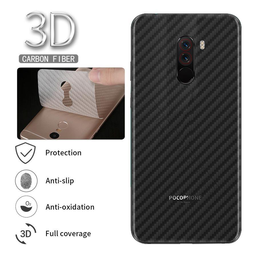 5Pcs Xiaomi <font><b>Pocophone</b></font> F2 <font><b>F1</b></font> Back Film Protective Film Clear 3D Carbon Fiber Soft Screen Protector <font><b>Sticker</b></font> ( Not Tempered Glass ) image