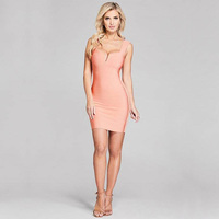 2018 New Fashion High Quality Bandage Dress Pink Women Summer Spaghetti Strap Short Casual V Neck Design Sexy Dresses Wholesale