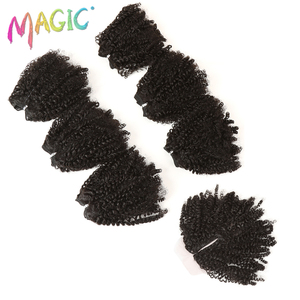 """Image 5 - 14""""Inch Ombre Hair Blonde Afro Kinky Curly Hair Weaving 7pcs/Lot Synthetic Hair Extensions 6Bundles With Closure For Black Women"""