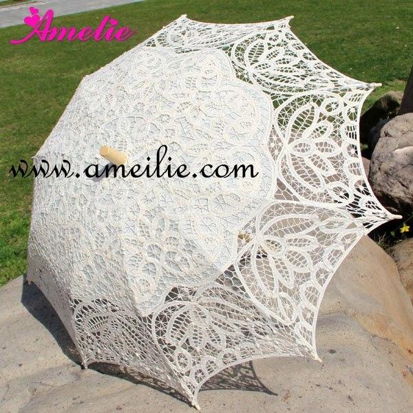 10pcs Lot Handmade Wedding Battenburg Lace Parasol Umbrella Wedding Favors Mix Color White Beige Red Purple