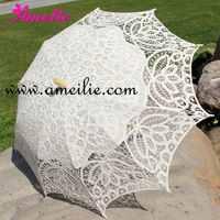 10pcs Lot Handmade Wedding Battenburg Lace Parasol Umbrella Wedding Favors Mix Color White Beige Red Purple Black Blue
