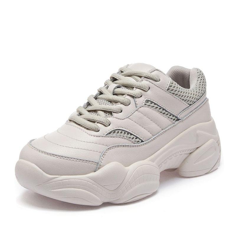 De Mesh Blanc Taille Chaussures Casual En Appartements Sneakers Razamaza Air 40 noir Cuir Femmes Randonnée Jogging Véritable Plein Lacent Beige blanc 35 qWOng6CBv