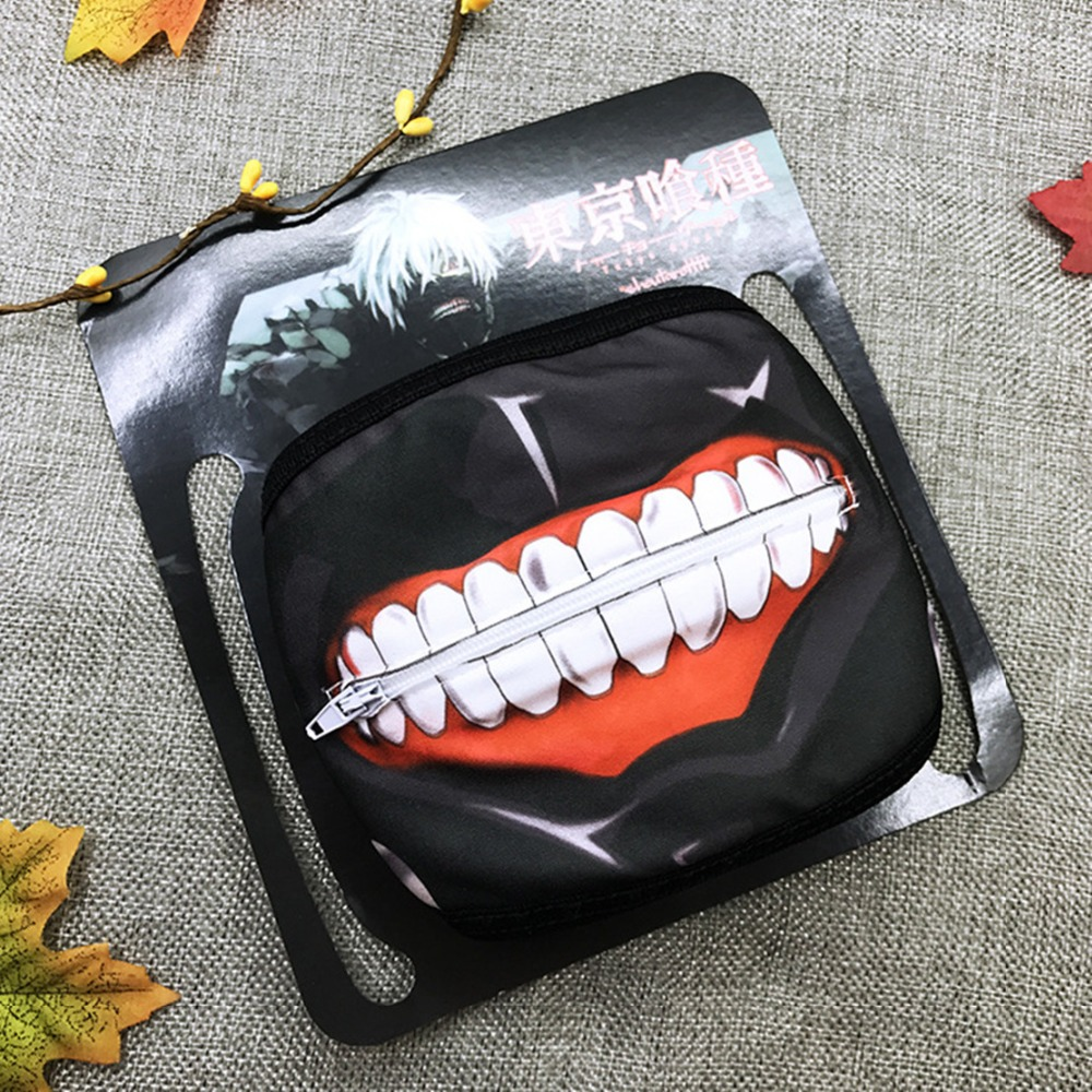 Tokyo Ghoul Anime Cosplay Mask Fashion Personality With Zipper Cartoon Masque Bouche Windproof Anti-dust Black Mouth-Muffle Hot