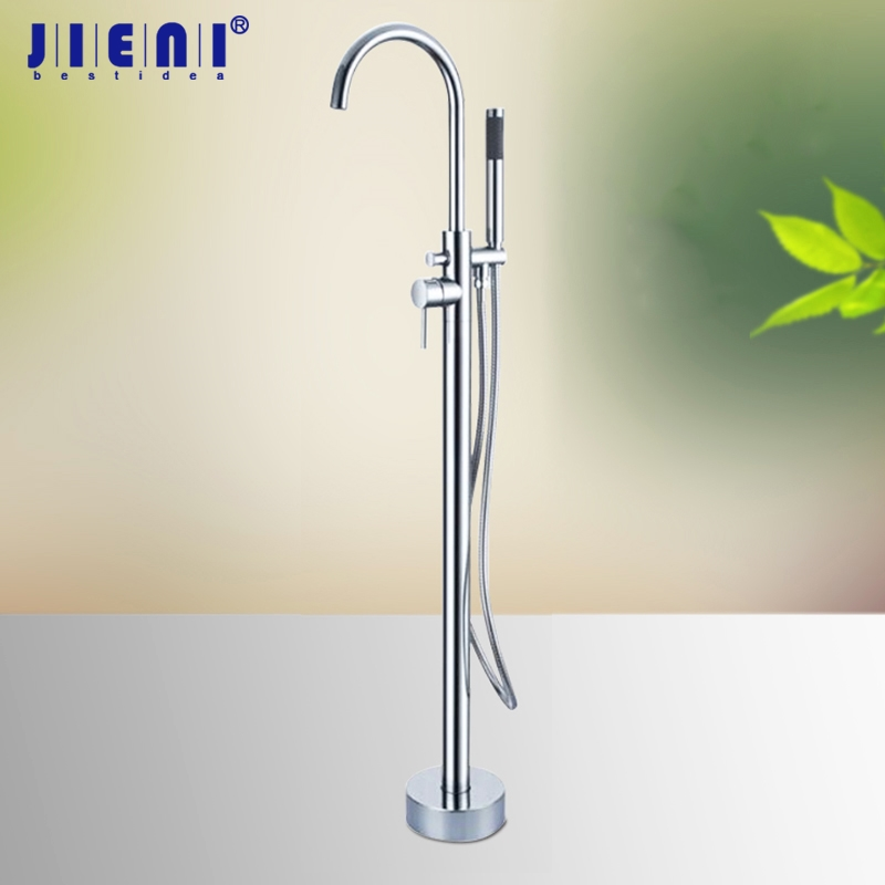 Solid Brass Floor Standing Tub Shower Faucet with Hand Shower Head Bathroom Shower Systerm Set Bathtub
