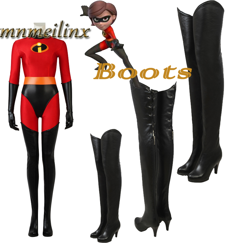 Incredibles 2 Cosplay Helen Parr Elastigirl Cosplay Shoes Black Boots High-heel Elastigirl Long Shoes Deluxe Boots