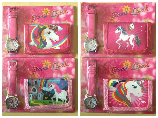 NEW Classic 12 Set cartoon unicorn watch watch and wallet purse wrist watch kids