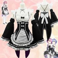 Anime Re Zero Kara Hajimeru Isekai Seikatsu Ram Rem Maid Dress Cosplay Costume