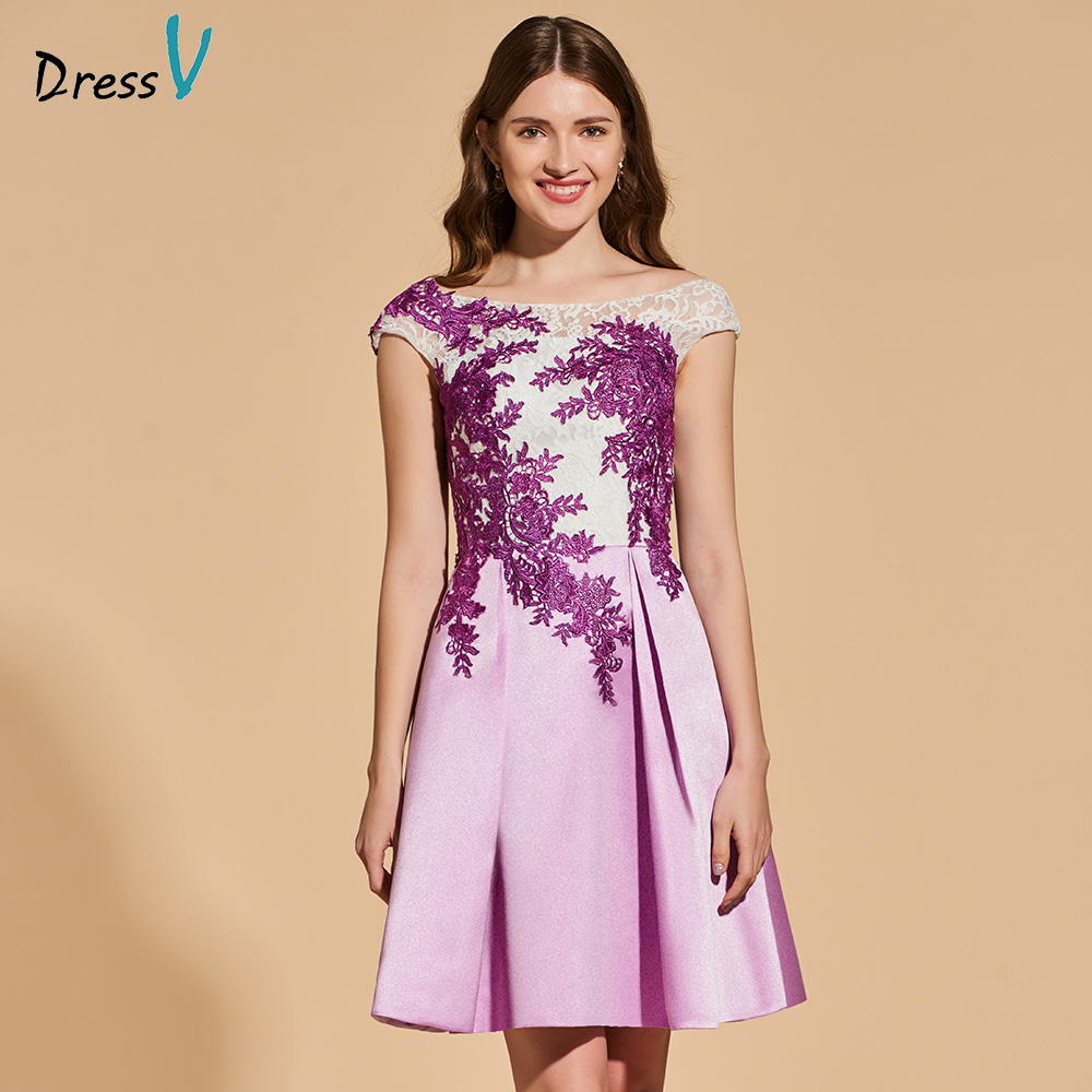 Dressv   cocktail     dress   scoop neck short cap sleeves a line appliques backless lace wedding party formal   dress     cocktail     dresses